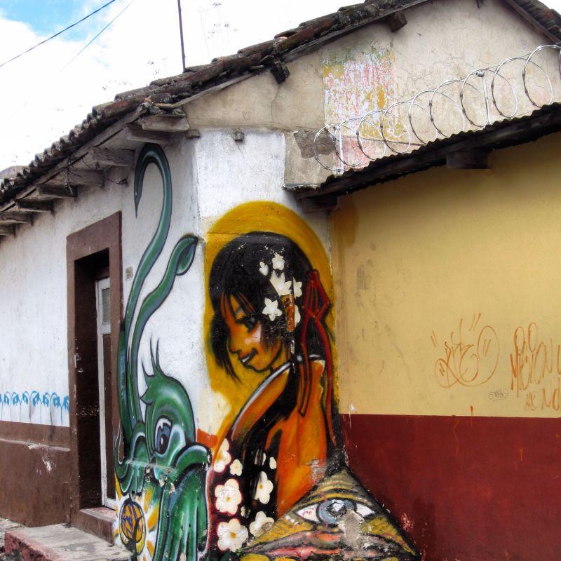 Wall graffiti seen in Xela, Guatemala
