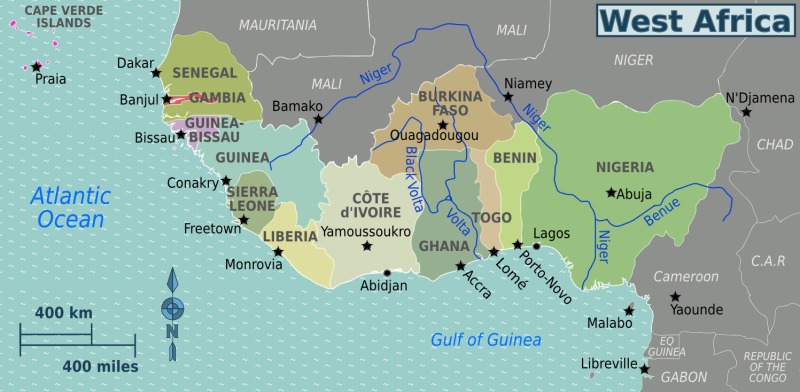 Map of West Africa. Photo source: Wikipedia Free Commons