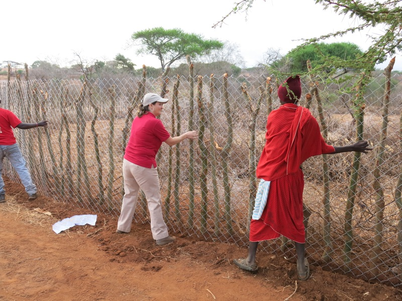 "Conservationist and Big Cats Initiative grantee Laly Lichtenfeld (center) helps to fortify enclosures called ""bomas"" that protect valued livestock from attack by predators, thereby saving lions from retaliatory killings. More information is available at CauseAnUproar.org. Photo credit: © Daniel Stone and Spencer Millsap/National Geographic"
