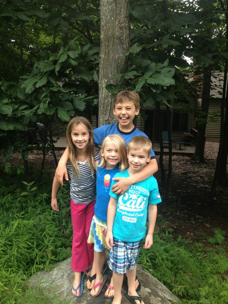 The kids with their cousins in the Blue Ridge Mountains of Virginia