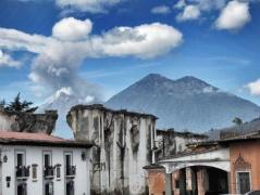 Erupting volcano Antigua Guatemala
