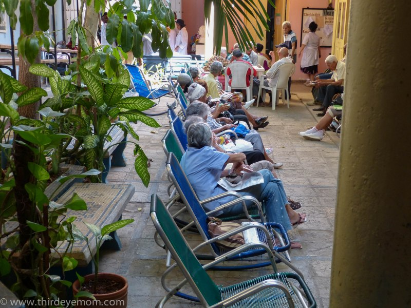 Elderly at a day center in Havana
