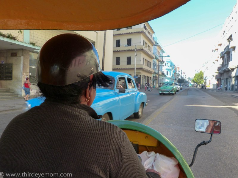 Taking a Coco Taxi in Havana