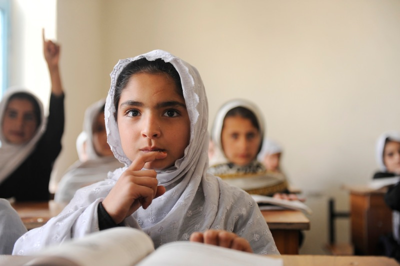 Education in Afghanistan A girl at Ayno Meena Number Two school in the city of Kandahar, Afghanistan, which was built in late 2008 with support from GPE funding. Photo Credit: GPE/Jawad Jalali