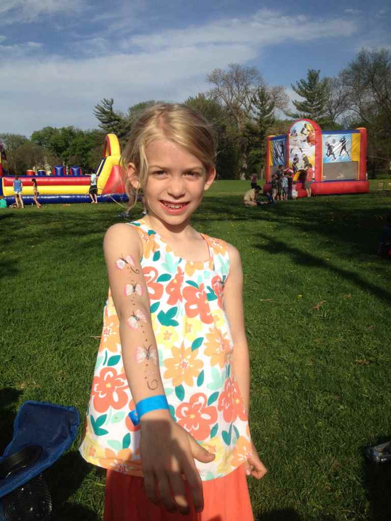 Sophia at an all school block party.