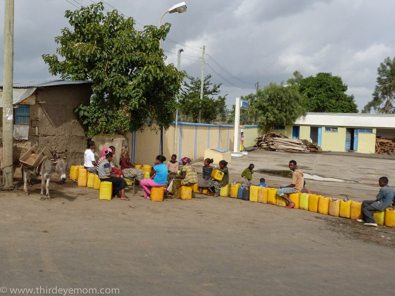 A common sight in Ethiopia and many parts of the developing world: Yellow water jerricans.