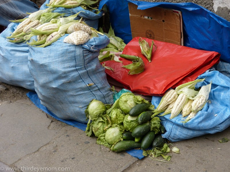 Produce vendors in La Paz Bolivia
