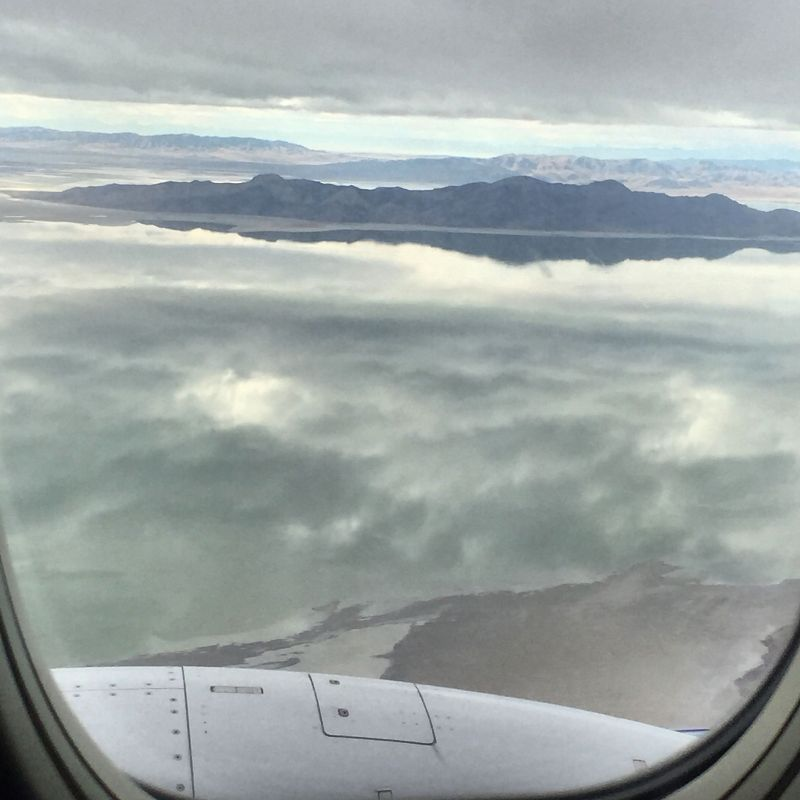 Landing on a cloudy date over the Great Salt Lake is amazing.