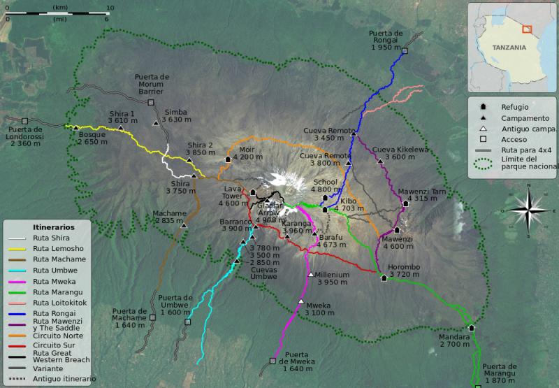 Image of Mount Kilimanjaro Climbing Routes (Wikipedia)