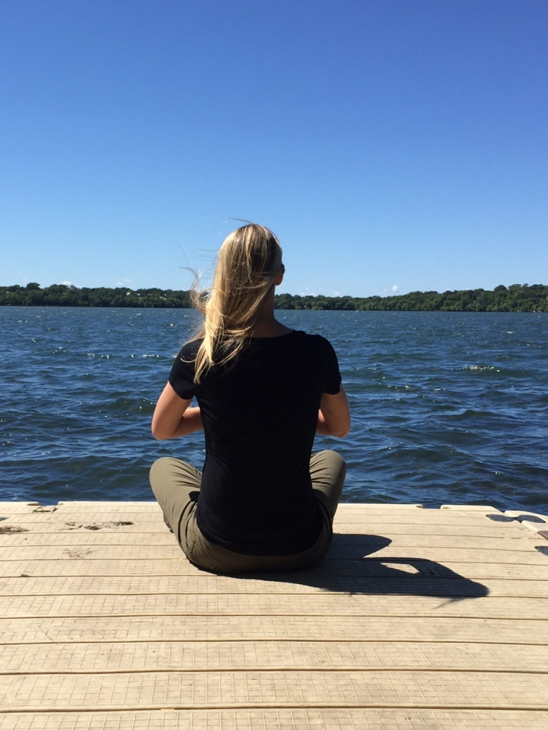 Me wearing my PrAna pants for some yoga at Lake Harriet