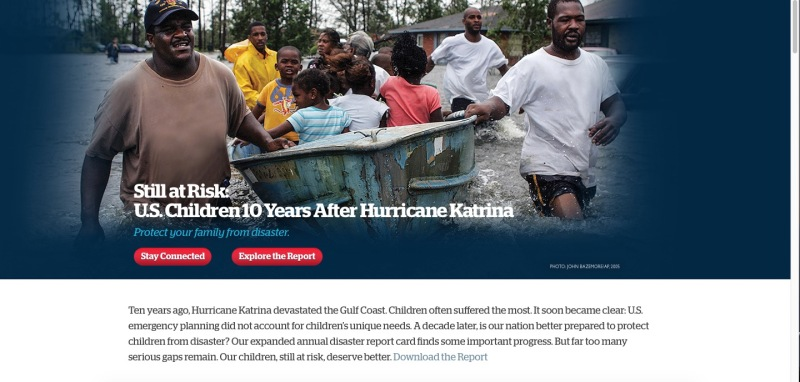 "Screen Shot of Save the Children's Landing Page for "" Get Ready Get Safe"""