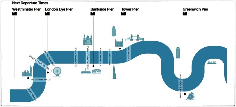 Screen shot of map of City Cruises River Thames route. www.citycruises.com