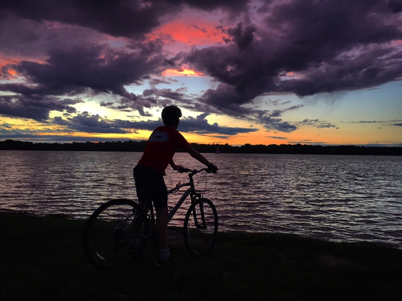 A bike ride with my son at sunset