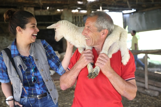 Guest Neha Chand and shepherd Dani on the Photo Workshop, Umbria