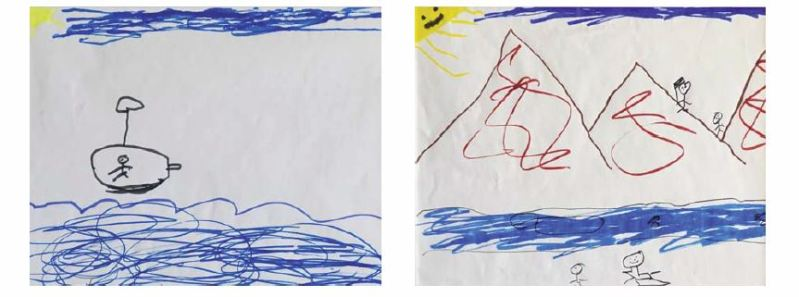 Robin brought table cloths, pads of paper and colored pens to give the children, who had just made the horrendous sea crossing a few hour before, the opportunity to draw pictures and give them a sense of normalcy in the chaotic environment.